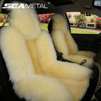 Car Seat Covers Winter Long Wool Universal Warm Faux Fur Rear Seat Cushion Natural Cushion Cover Goods Seat for Auto Accessories
