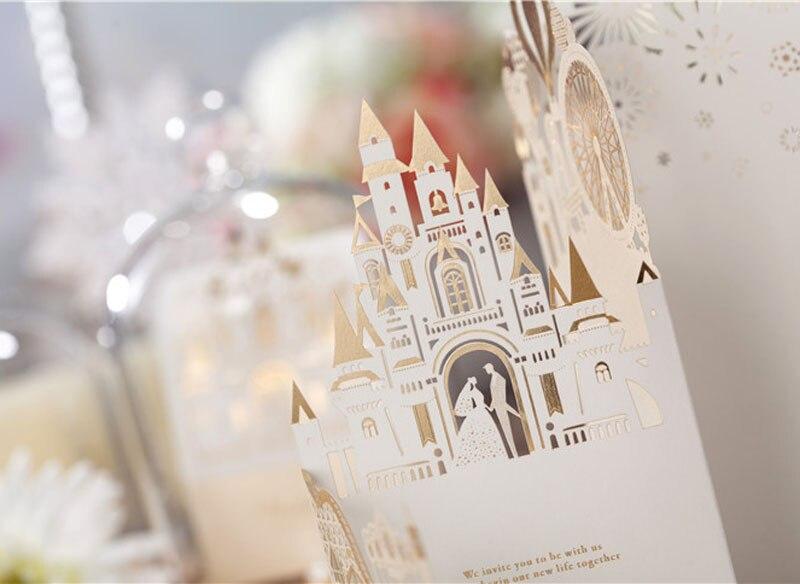 3d Einladungskarten Hochzeit #18: Wishmade 3d Hochzeitseinladungen Anpassen Laserschneiden Einladungskarten  Braut Und Bräutigam Schloss Hochzeit Gefälligkeiten Casamento Cw5093 In  Wishmade