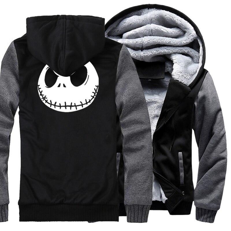Image 4 - Jack Skellington Evil Face Print Hip Hop Streetwear Hoody 2018  Winter Thick Hoodies For Men Harajuku Zipper Jacket Sweatshirthoodies  for menstreetwear hoodiethick hoodie