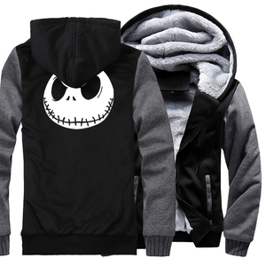 Image 4 - Jack Skellington Evil Face Print Hip Hop Streetwear Hoody 2018 Winter Thick Hoodies For Men Harajuku Zipper Jacket Sweatshirt
