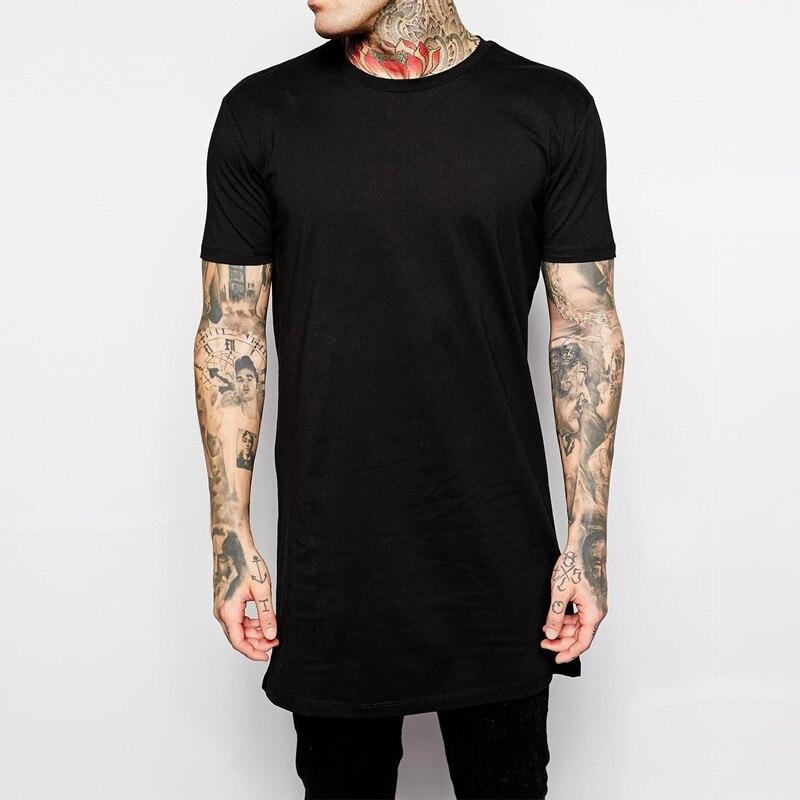 2018 Brand New Clothing Mens Black Long   t     shirt   Men Tops Hip hop tee   T  -  shirt   Men Hiphop Short Sleeve Longline casual Tee   shirts