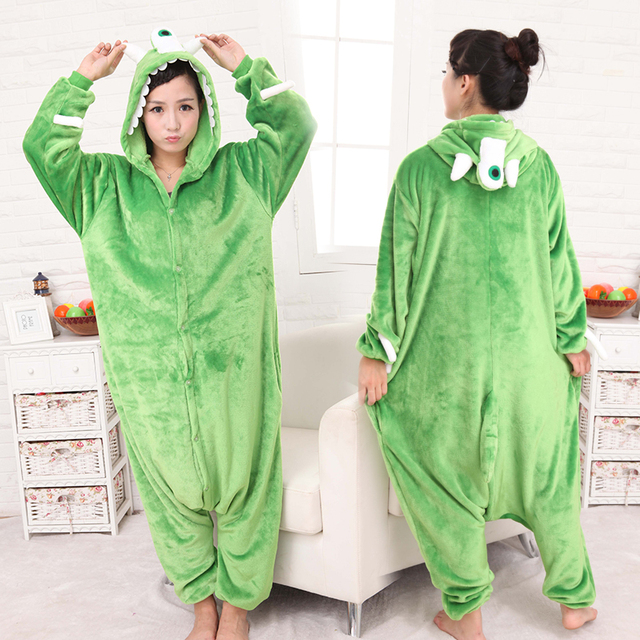 90efb79d5cb2 HKSNG Winter Warm Adult Unisex Alien Mike Wazowski Kigurumi Animal Pajamas  Onesie Cosplay Costumes For Party