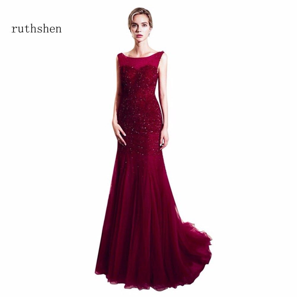 ruthshen 2018 Real Photo Sleeveless   Evening     Dresses   Mermaid Beads Backless Long Floor Length Party   Dresses   Vestido De Festa 2018