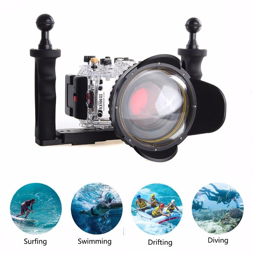 Meikon 40 m/130f boîtier de caméra sous-marine pour Sony DSC-RX100III RX100 M3 w/67mm sacs de caméra filtre rouge