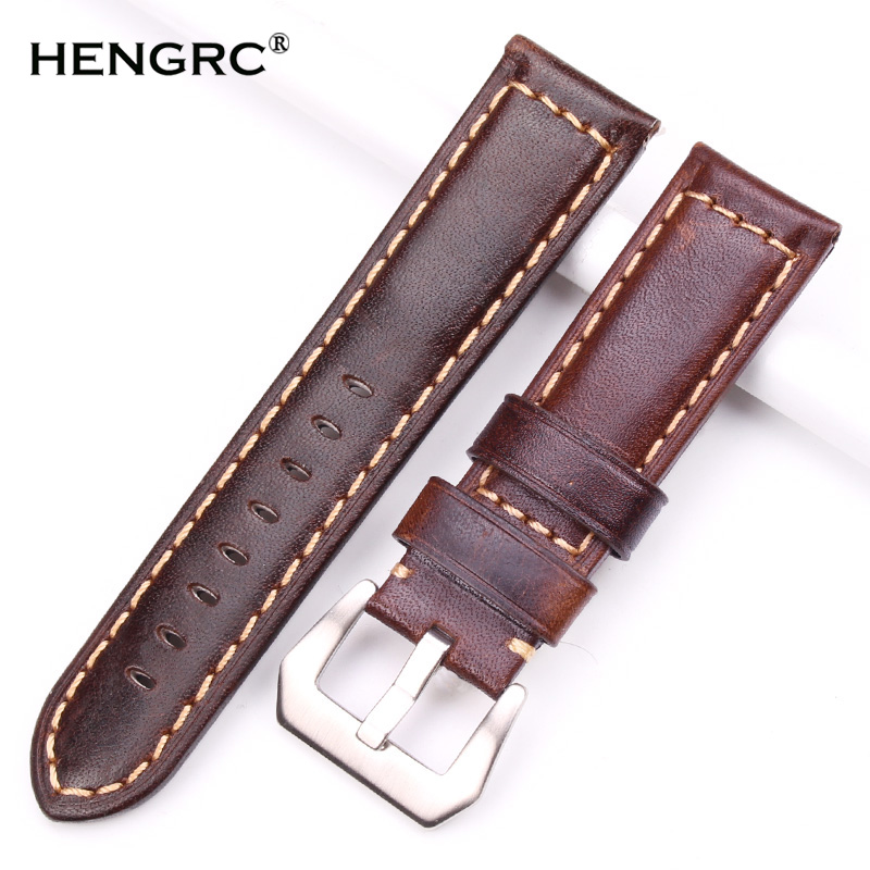 Retro Genuine Leather Watchbands Men 22mm 24mm Watch Band Strap Stainless Steel Brushed Buckle Accessories For Panerai