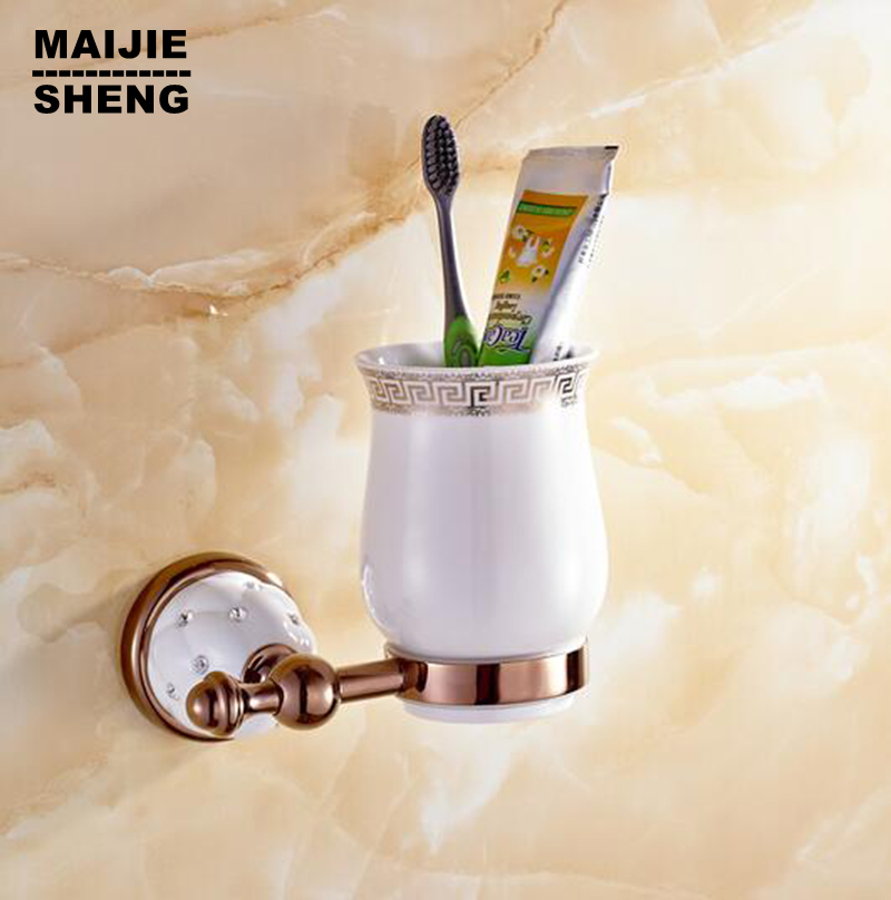 New Modern luxury European style red Golden with diamond copper toothbrush tumbler&cup holder wall mount bath product image