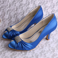 (20 Colors)Hot Sale Blue Satin Wedding Heel Shoes Bridal Peep Toe with Rhinestone Decoration