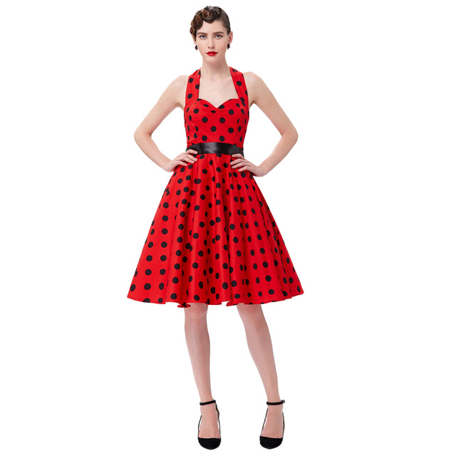 Women Summer Big Swing Dress 2016 Plus Size Clothing Robe Retro Casual Party Vestidos Polka Dot Vintage 50s Rockabilly Dresses