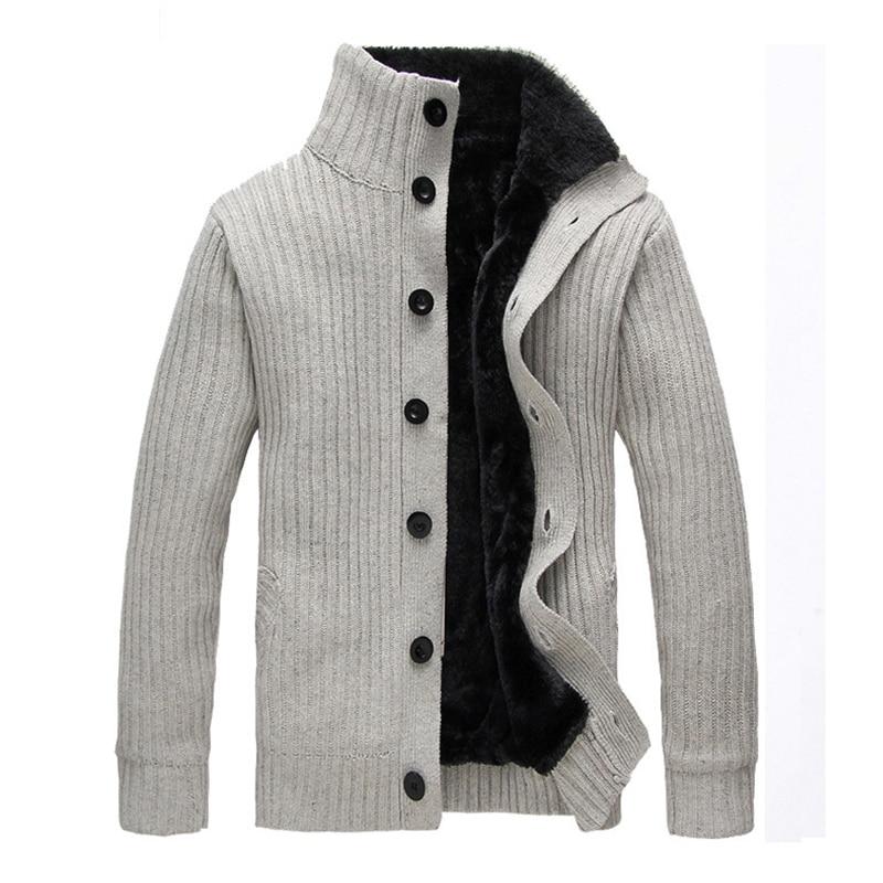 WIIVIP New Men Brand Winter Warm Men's Cardigan Thicken Sweater Coat Men's Knitted Thick Cardigans Mz076