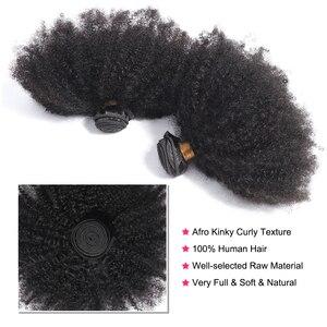 Image 5 - Gabrielle Afro Kinky kıvırcık saç brezilyalı saç örgü demetleri doğal renk insan saçı postiş 3 demetleri Remy saç 5/10 adet