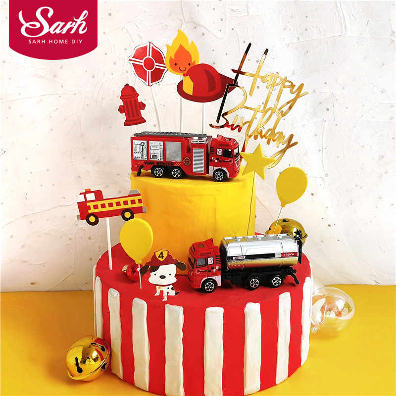 Marvelous Fire Ladder Truck Water Tank Decoration For Childrens Day Happy Funny Birthday Cards Online Overcheapnameinfo