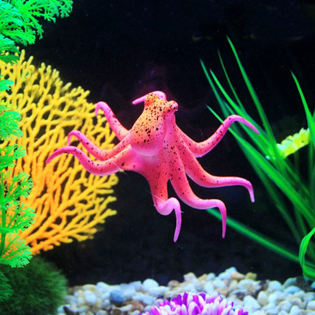 Perfect Luminous Decorative Small Aquarium Simulation Red Octopus Small Fish Tank  Landscaping Nice Design