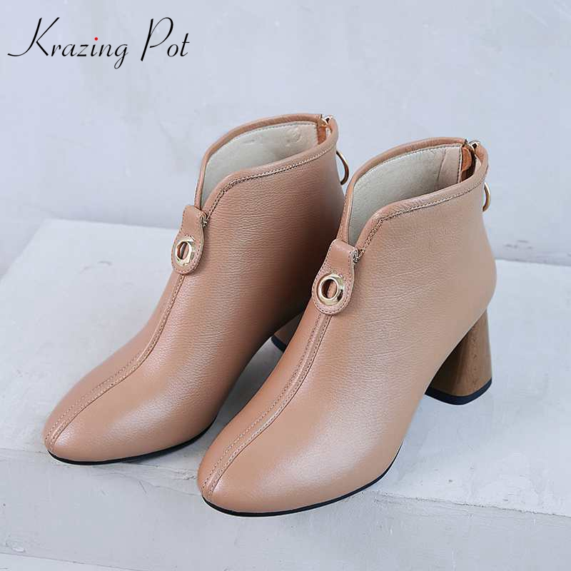 Krazing Pot hot genuine leather round metal buckle decorations thick high heels round toe handsome solid