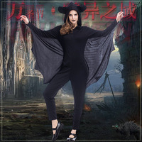 2017 NEW Arrival Adult Costume Sexy Bat Women Jumpsuit Romper Sexy Vampire Black Bat Hooded Connected Wings Halloween Costume