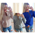 2017 Autumn Women Fashion Round Neck Long Sleeved Casual Sweatshirts Jacket Zipper Female Pullovers Solid Winter Sweatshirts