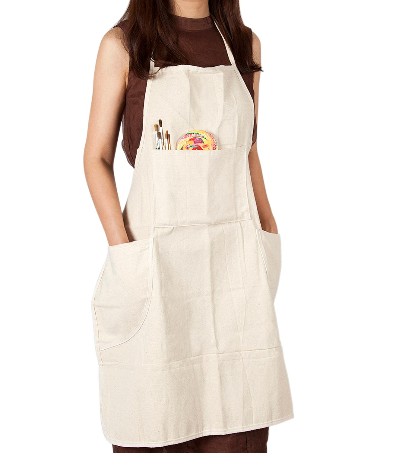 CONDA Apron for Painting with 4 Pockets Waterproof Professional Bib Cotton Canvas for Women Men Adults Natural 31 inchCONDA Apron for Painting with 4 Pockets Waterproof Professional Bib Cotton Canvas for Women Men Adults Natural 31 inch