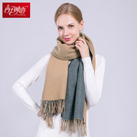Women Winter Scarves Double Color Cashmere Scarf Winter Poncho Stoles Wool Pashmina Long Blanket Warm Winter