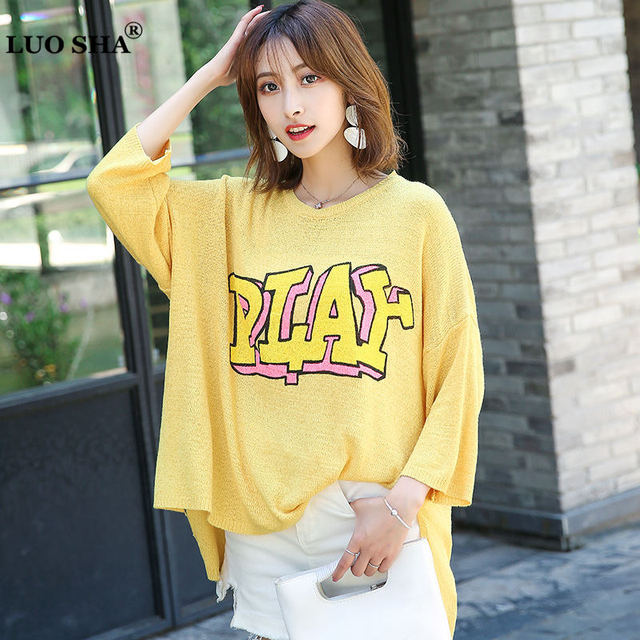 8c68e536e3f159 LUOSHA Women Autumn Oversize Letter Print Knitted Asymetric Pullover  Sweater Korean Style Loose Thin Jumper Tops