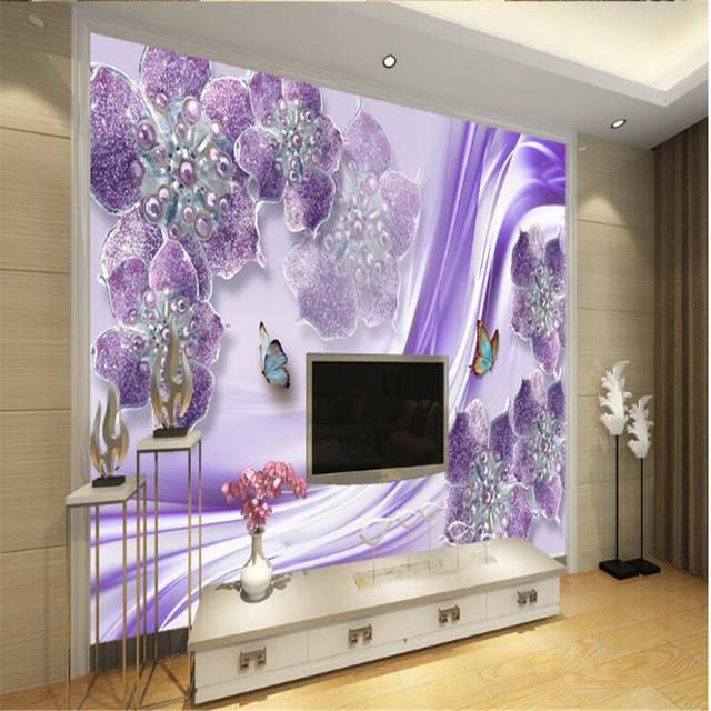 Beibehang Kustom Wallpaper Yang Indah Dan Cantik Ungu Eropa Bunga 3d Stereo Tv Latar Belakang Dinding Dekorasi Ruang Tamu