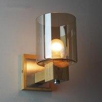 Настенный светильник бра деревянная ванная комната светильники Янтарный стеклянный светильник современный прикроватный винтажный Лофт л