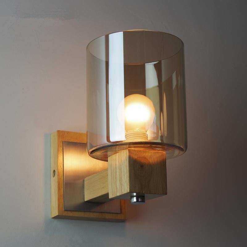 Wall Light Sconce Wood Bathroom Fixtures Amber Glass Lamp Modern Bedside Vintage Loft Bedroom Luminaire Light Fixture