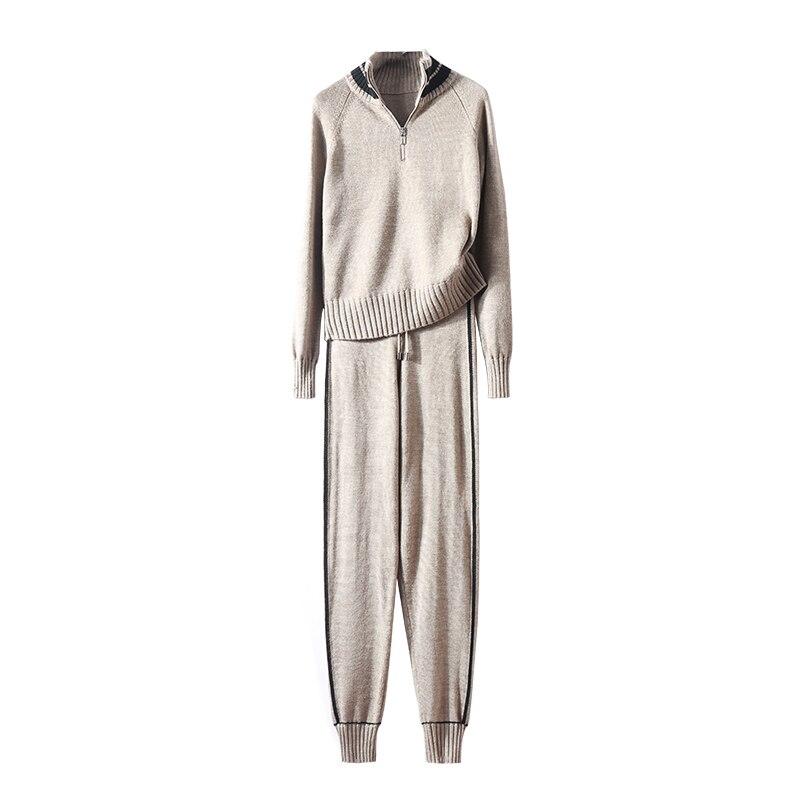 2018 Roulé Laine Bleu À Cordon Chaude Chaud Tricoter Deux Femelle Nouveau Costume Royal Femme Vente Pantalon Haute Chandail Col kaki Plein Qualité Pièce Casual wqpP1C