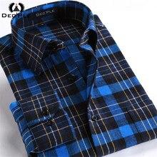 4XL Cotton Flannel Men Shirts 2016 fashion winter long plaid shirt men long sleeve plaid striped casual Shirt male plaid Shirts