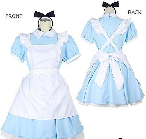 Синий сексуальный костюм Алисы в стране чудес для взрослых вечерние маскарадные женские маскарадные костюмы Лолиты горничной на Хэллоуин для женщин платье плюс размер