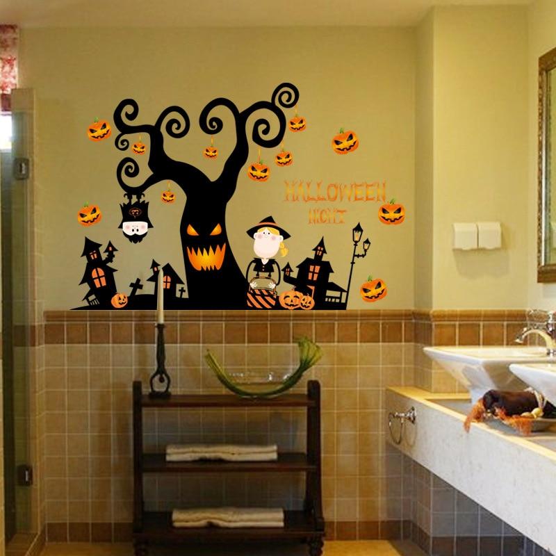 3D Halloween pumpkin lantern Night Tree Wall Sticker Bedroom Living ...