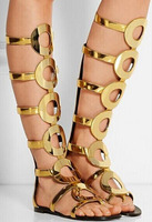 New Summer Women Knee High Boots Gladiator Sandals Ankle Boots Back Zipper Gold Circle Hollow Out