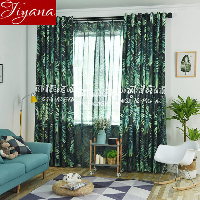 Green Tree Design Curtain For Window Bedroom Plant Sheer Fabrics Kitchen Voile Living Room