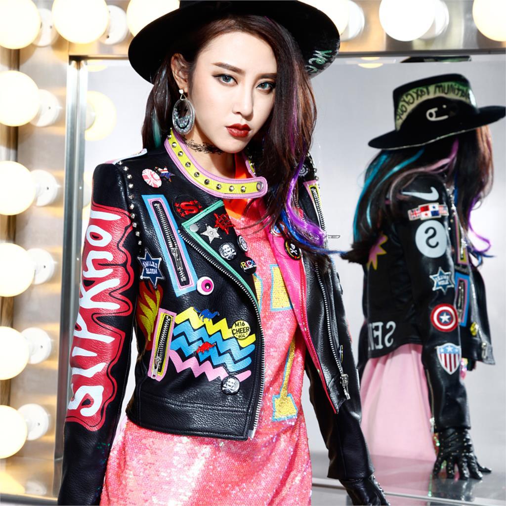 2018 Punk Style Cool Rivets Perles Femmes Veste Manteau Pu En Cuir Automne Manteaux Femmes Bomber Veste Recadrée Top Pour Les Femmes