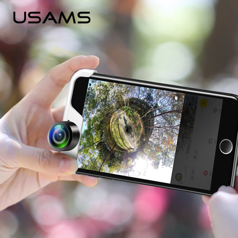 USAMS 360 Objectif de Caméra panoramique 2 pcs Téléphones Lentille Vrai Panorama téléphone panorama lentille pour iPhone X 8 7 6 6 s Plus Panoclip