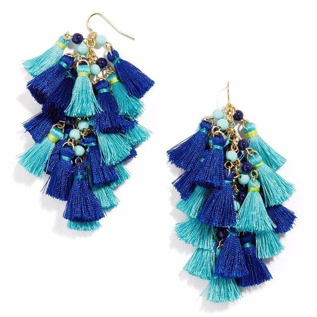 Yjx Rosalita Tel Earrings Cobalt Blue Drop Cool Cer Hues Delicate Bead Trendy