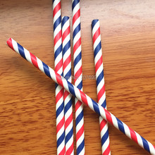 Red/navy Straws 1000pcs Paper
