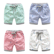 Hurave 2017 Autumn&Spring Boys Loose-Fitting Knee Length Children Print Harem Trousers Children Loose-Fitting Draestring Pants