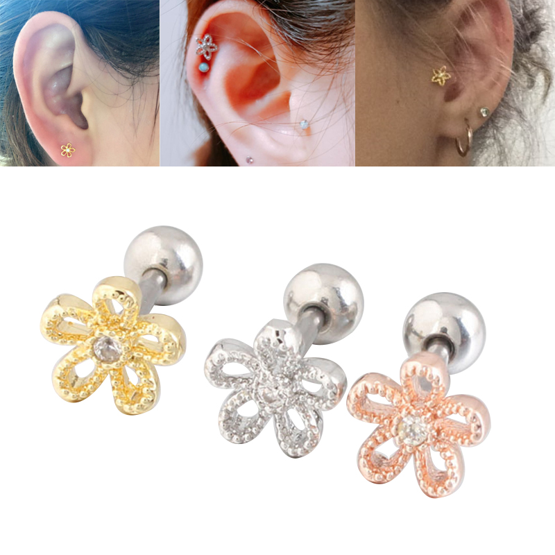 Us 1 17 41 Off 1pc Hollow Out Flower Gem Surgical Steel Ear Tragus Piercing Bar Cartilage Earring Stud Piercing Fashion Jewelry For Sexy Girls In