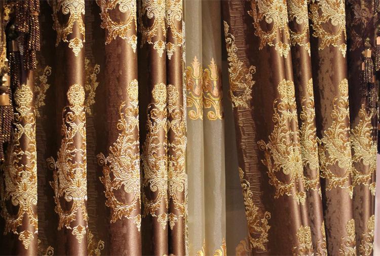 Mewah Kopi Coklat Emas Spark Bunga Corak Langsir Klasik Sutera Tirai Mewah Tirai Mewah Tirai Selesai Tirai