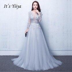Это Yiiya Новое Элегантное Вечернее Платье с открытой спиной и кружевами в три четверти, длина до пола, вечерние платья LX048