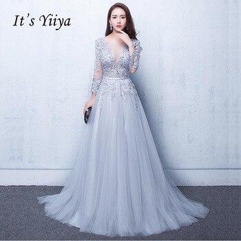 a4316addf Es Yiiya nuevo trimestre ilusión sin espalda de encaje de flores vestido de  noche elegante piso longitud vestido de fiesta vestidos de noche LX048
