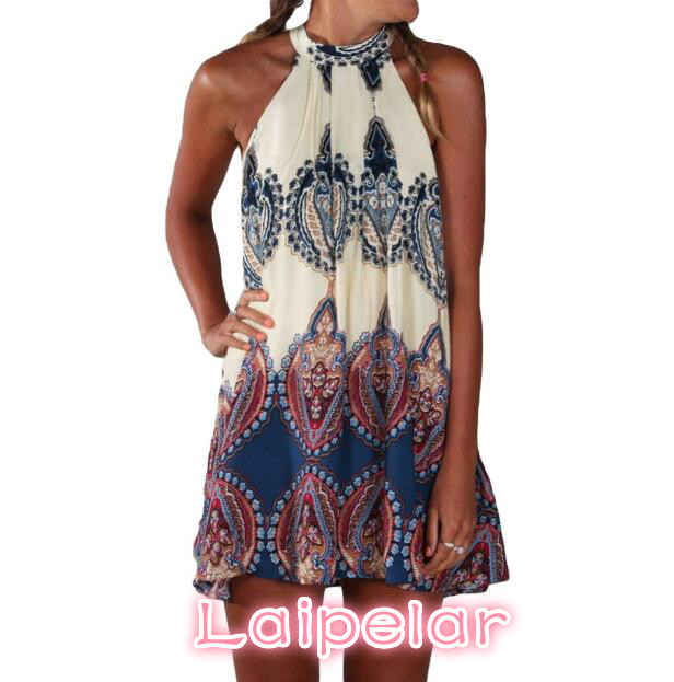 <font><b>2018</b></font> <font><b>New</b></font> <font><b>Sexy</b></font> Summer <font><b>Dress</b></font> Boho <font><b>Women</b></font> <font><b>Dress</b></font> Printed Halter <font><b>Style</b></font> <font><b>Sleeveless</b></font> Beige Beach Party Mini <font><b>Dresses</b></font> Girls Vestidos S-XL image