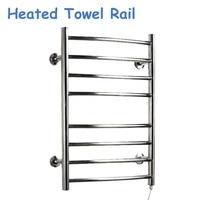 80W Heated Towel Rail Holder 220V/110V Bathroom Towel Drying Stainless Steel Electric Towel Warmer Towel Dryer YEK 8017