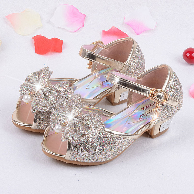f6caf3575e 15.9-22.5cm Girls High Heels Sandals children 3 4 5 6 7 8 9 years old blue  gold pink silver girls anna elsa sofia princess shoes