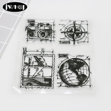 Global travel plane camera compass silicone stamp transparent soft stamp diy scrapbooking Handmade gift card Photo Album stamps(China)