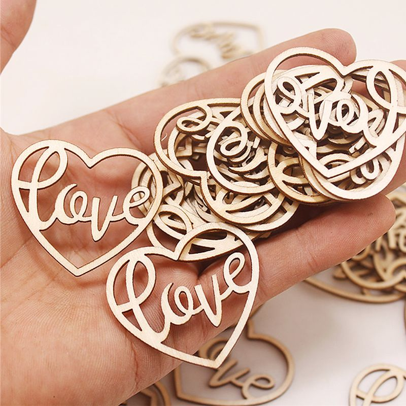 50PCS DIY Hollowed Letter Love Fridge Refrigerator Sticker Wooden Photo Album Home Furniture Decoration Tools