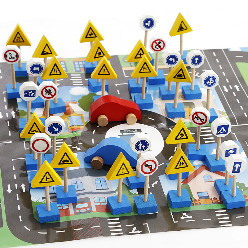 33PCS Colorful Wooden Street Traffic Signs with 2 cars Parking Scene diagram Children Traffic Knowledge Game Educational Toys diecasts mini cute cartoon cars knowledge of traffic educational