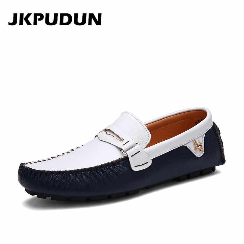 JKPUDUN Genuine Leather Italian Fashion Mens Shoes Casual Luxury Brand Loafers Designer Men Flat Driving Shoes Espadrilles Skor