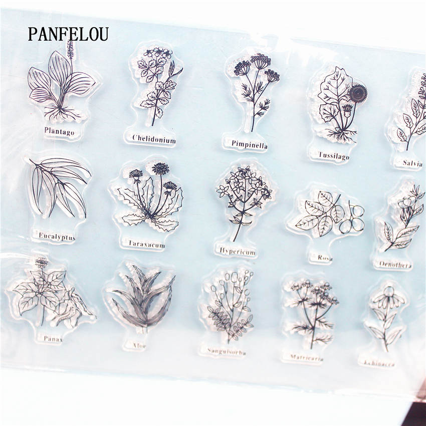 PANFELOU List Of Flowers Clear Stamp DIY Silicone Seals Scrapbooking/Card Making/Photo Album Decoration Supplies Sheets