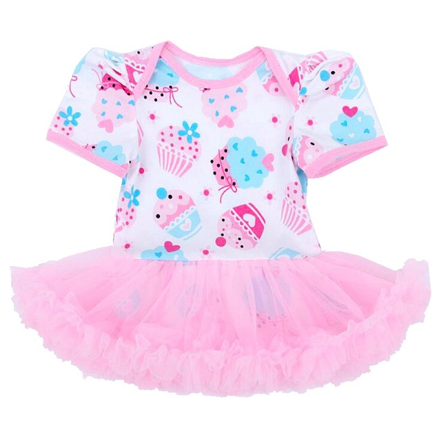 Pink Cupcake Print Toddler Lace Romper 1 Year Girl Baby Birthday Dress Vestido Bebe Girls Dresses Summer 2016 Infant Clothing