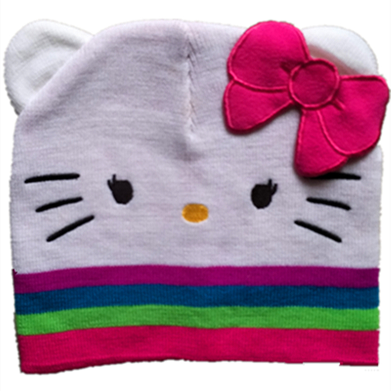Girl's Hats Cartoon Anime Cotton Wool Knitting Cute Hello Kt Cat Night Caps Autumn Winter Soft Teenager Kid Adult Warm Hats Beanies With Bow Girl's Accessories